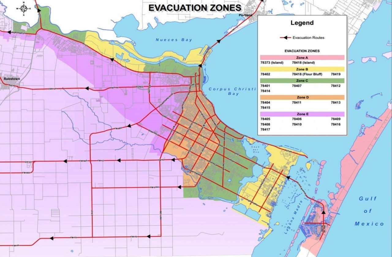 Corpus Christi Evacuation Zones