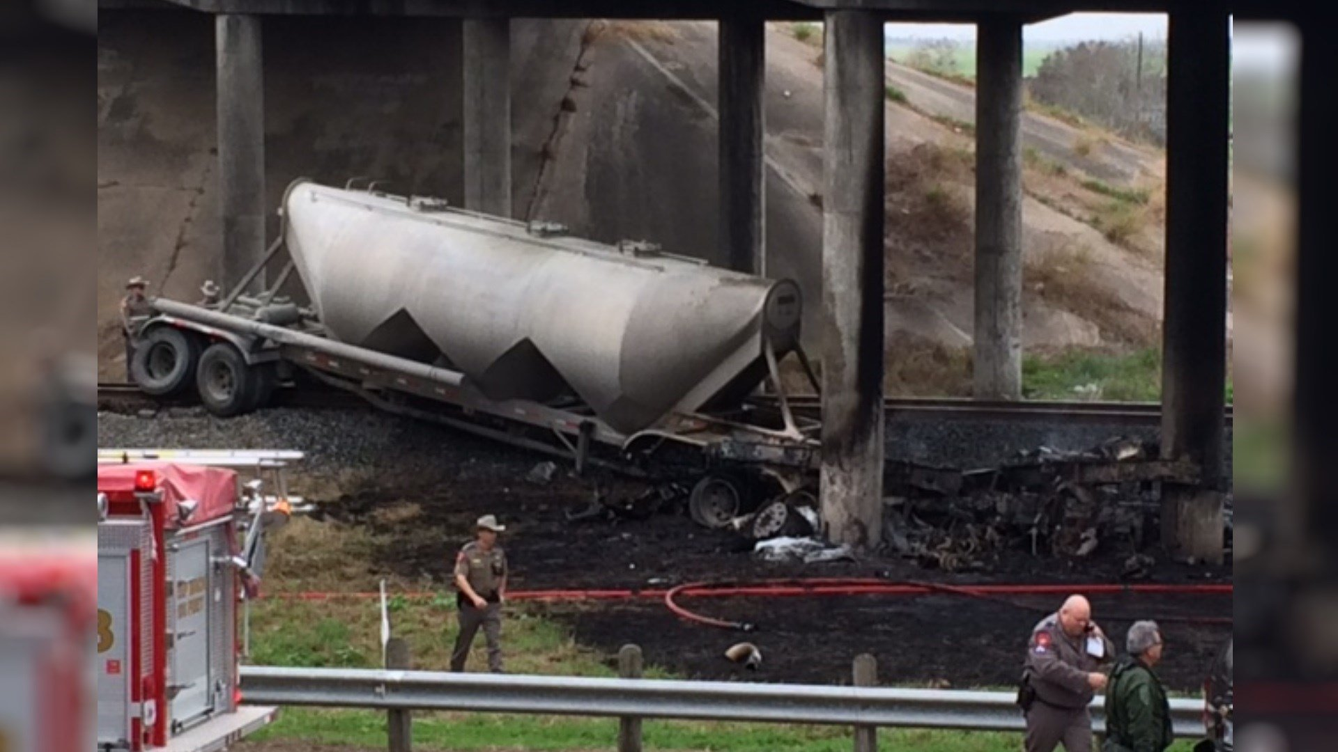 Semi truck burst into flames after crash on I-37.