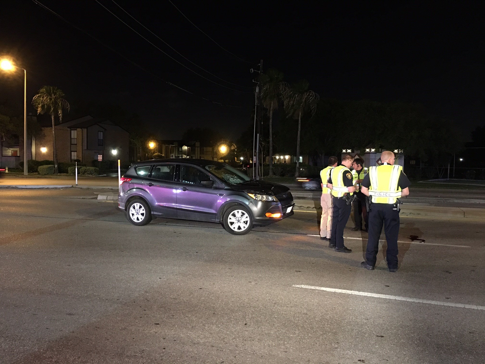Crews shut down the eastbound side of Saratoga Blvd. after a pedestrian was hit by vehicle Friday night.