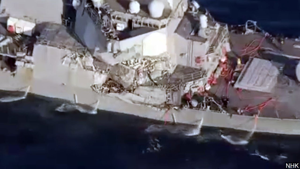 USS Fitzgerald involved in a collision with Philippine-flagged merchant vessel ACX Crystal, Photo Date: 6/16/2017
