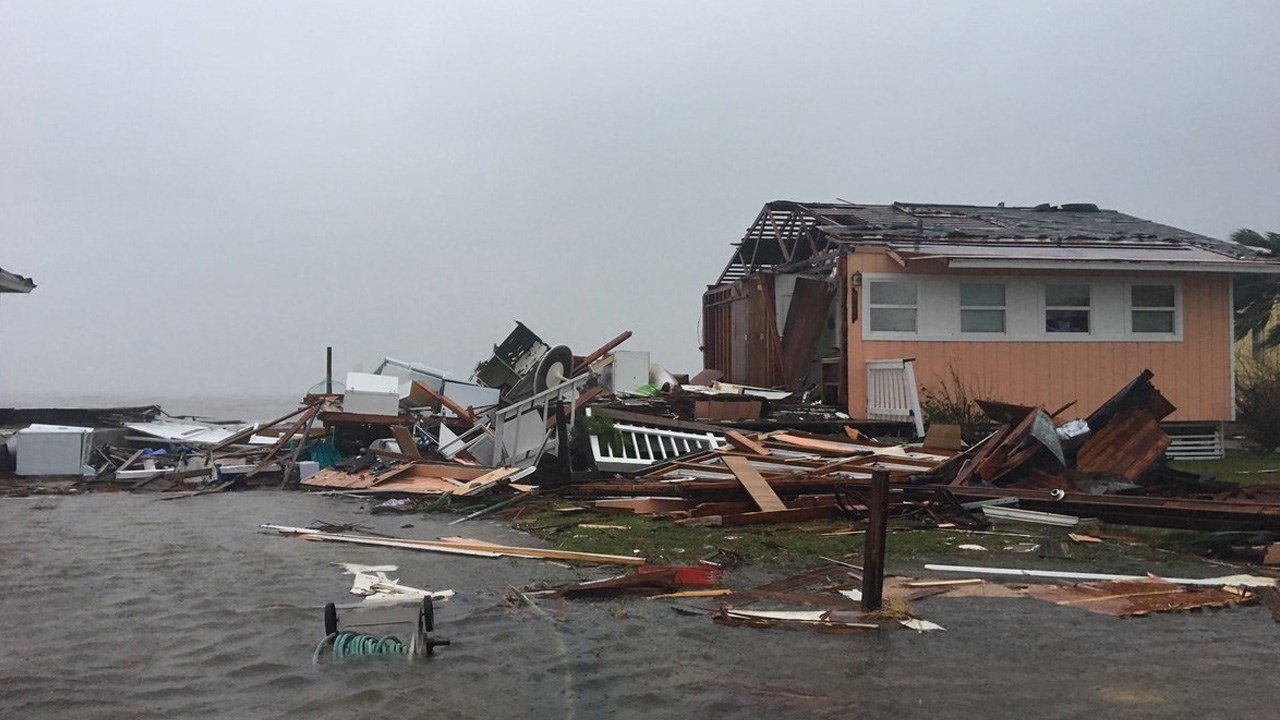 Photo of destruction along the Texas coastline from Hurricane Harvey near Rockport.