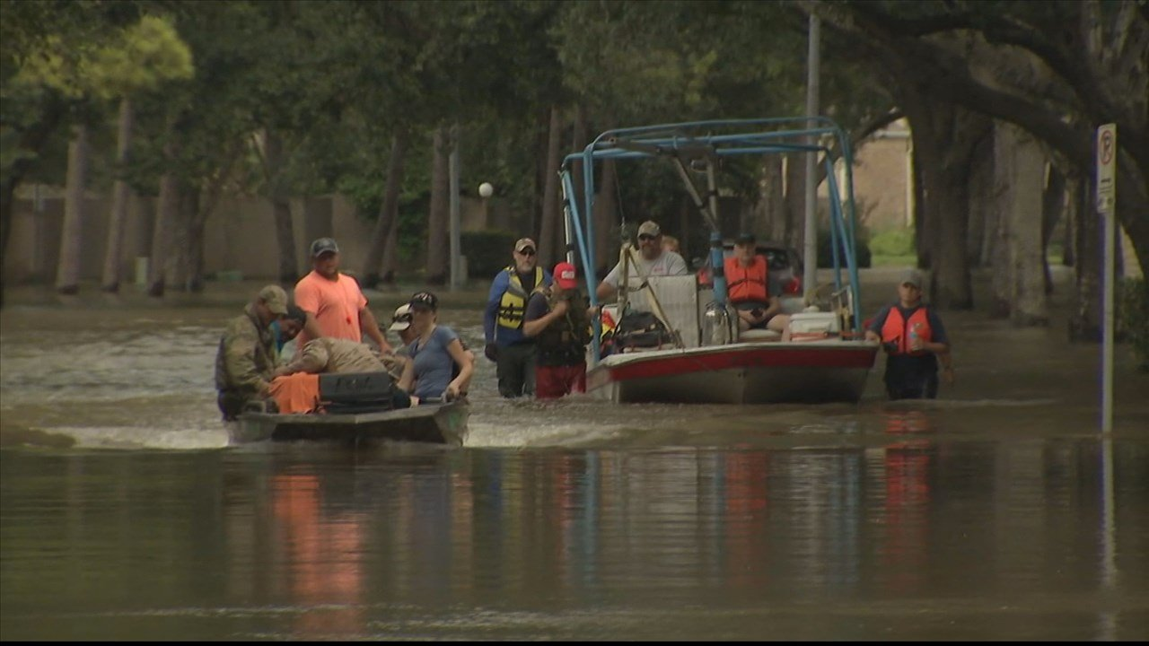 Relief teams could only reach many areas of Houston by boat in the days after Harvey. Photo: KXLN / MGN