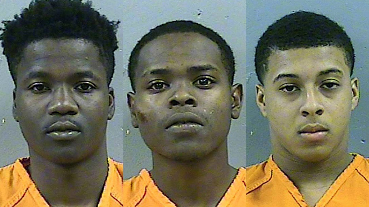 D'Allen Washington (left), Byron McBride (center) and Dwan Wakefield (right), charged with capital murder over the death of 6 year old Kingston Frazier in Mississippi,