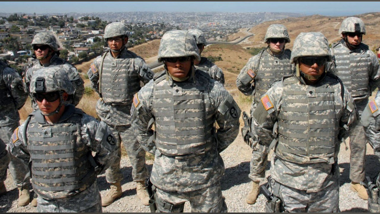Members of the California National Guard stand in formation before undertaking operations on California's southern border. File photo