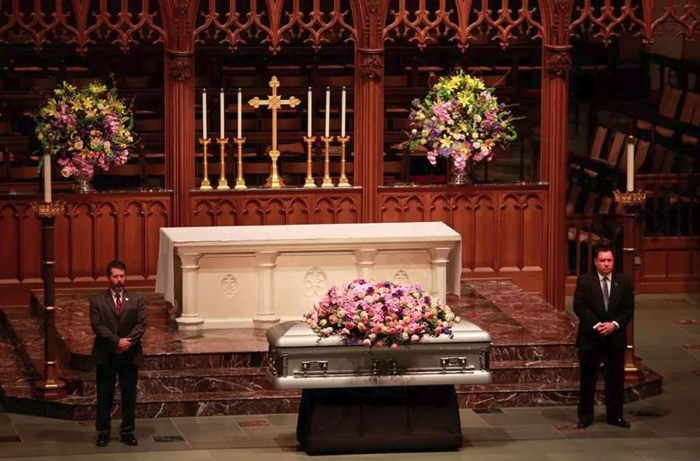 Former U.S. first lady Barbara Bush lies in repose at St. Martin's Episcopal Church Friday, April 20, 2018, in Houston, prior to the public visitation. Bush died Tuesday at her Houston home, she was 92. photo: CBS News