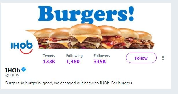 IHOP changes name to IHOb, 'b' stands for burgers
