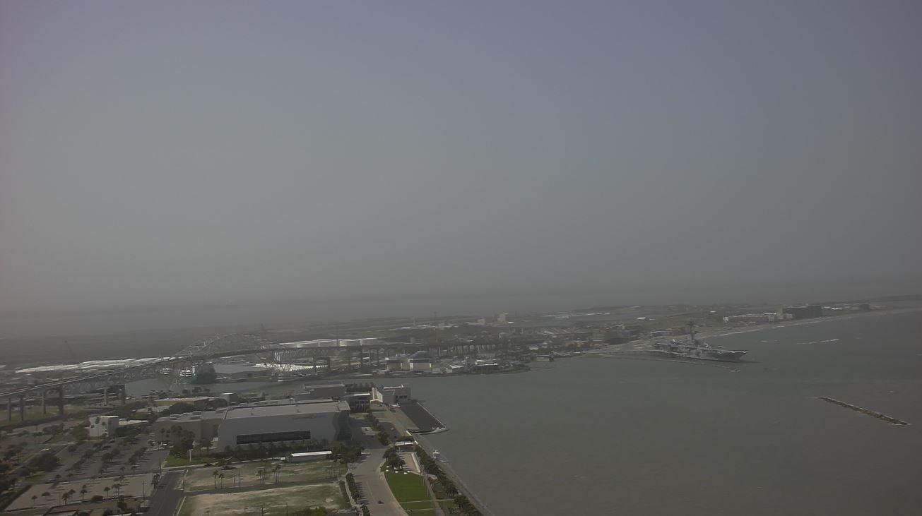 Hazy skies were the sight throughout the Coastal Bend as Saharan dust made its way into the area. (KZTV Skycam photo)