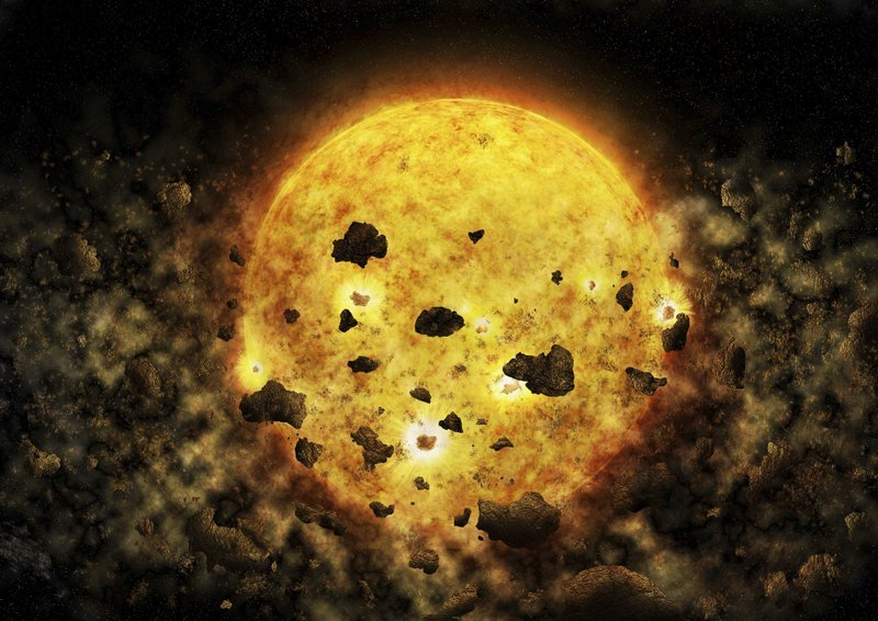 This illustration provided by NASA depicts debris surrounding the star RW Aur A, about 450 light-years away from the Earth. In the Wednesday, July 18, 2018 edition of the Astronomical Journal, astronomers said they may have caught the star munching on a p
