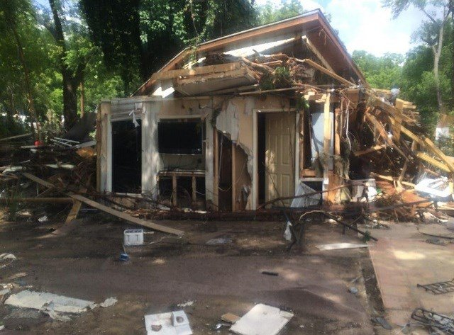 Home destroyed by floods in Wimberley, Texas