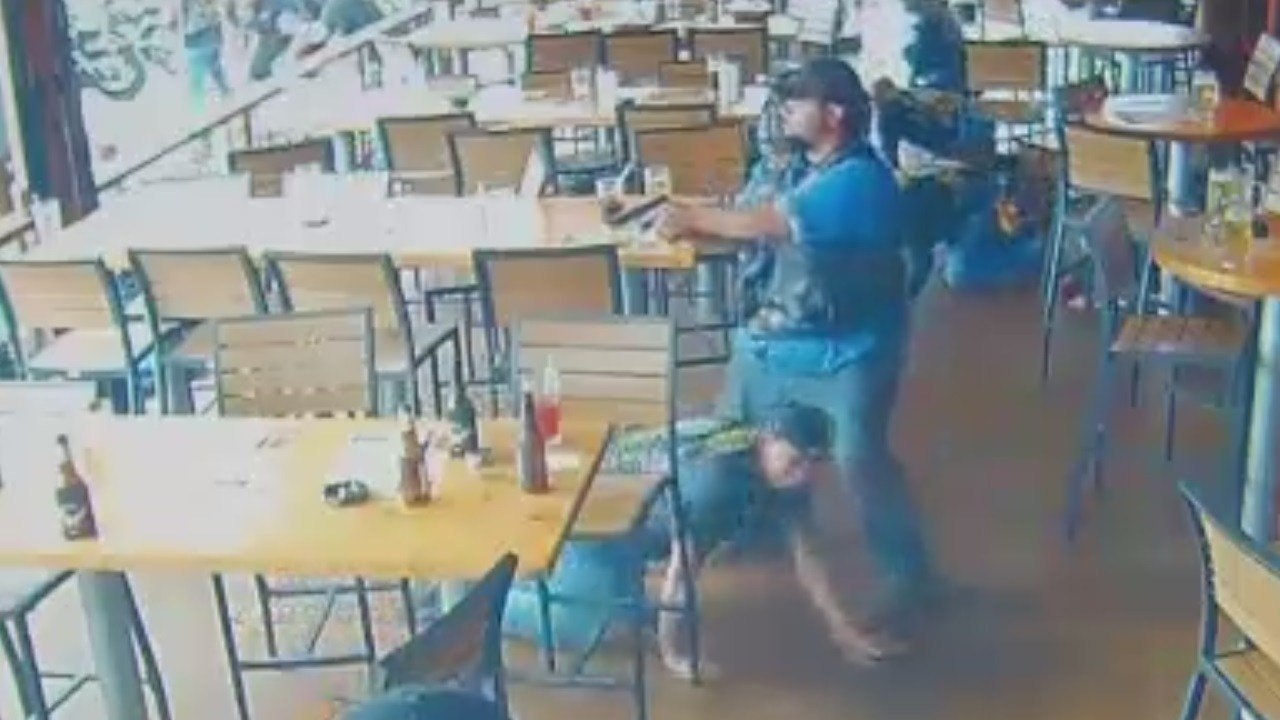 Surveillance video of biker shootout in Waco. (Waco Police Department)