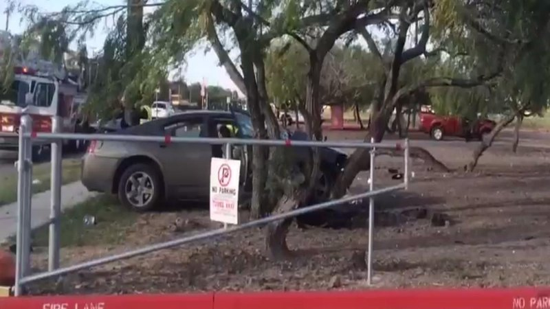 The driver of this car was critically injured in a crash at Veterans  Memorial High School